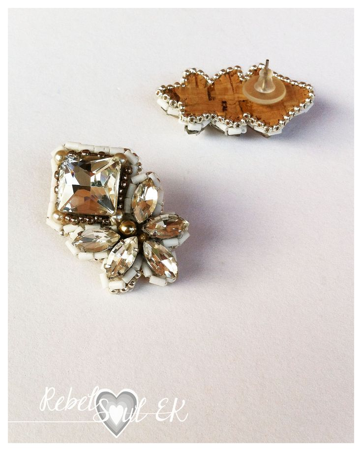 RebelSoulEK earrings weddings jewelry crystal white swarovski embroidery tecnique