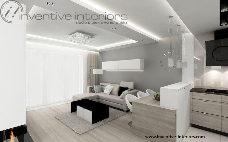 Projekt salonu Inventive Interiors - jasny salon z aneksem kuchennym