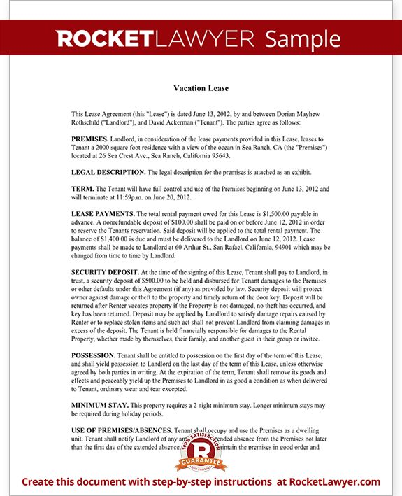 The 25 best ideas about Contract Agreement – Sample Vacation Rental Agreement Template