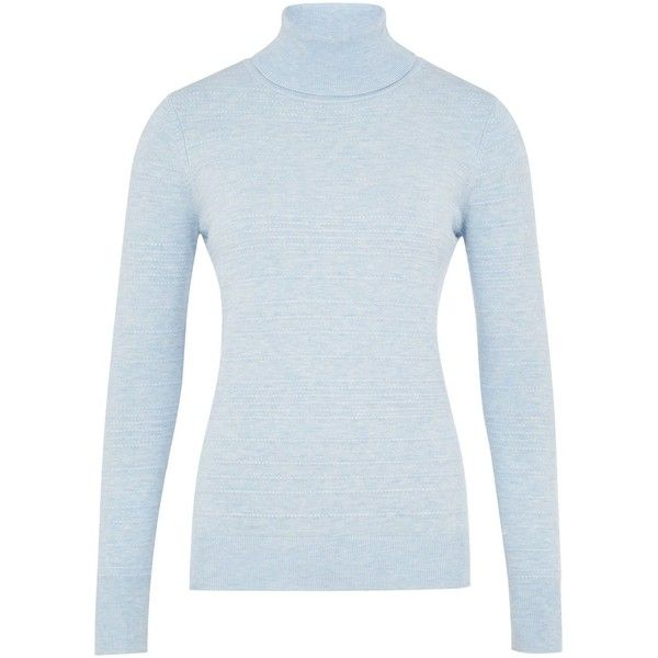CC Bead Stitch Roll Neck Jumper ($86) ❤ liked on Polyvore featuring tops, sweaters, pastel blue, women, textured sweater, pastel sweater, blue jumper, blue top y cc sweater