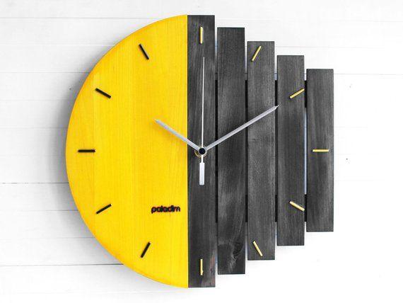 Geometric Wall Clock Industrial Clocks Home Wall Decor Etsy Wood Wall Clock Unique Wall Clocks Industrial Clock Wall