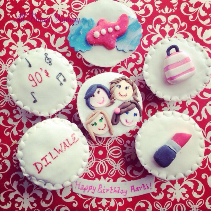 Cupcakes!! #customisedcupcakes #bffs #lipstick #handbag #cosmetics #90smusic #the90s #dilwalethemovie #dilwale #airplane #clouds #lipcolor #makeup #girliecupcakes #bakedwithlove #baked #atyummy #baker #delhi #dessertgram #instacupcakes #dessert #chocolatecupcakes #yum #fondant #happyfaces #music #musicalnotes