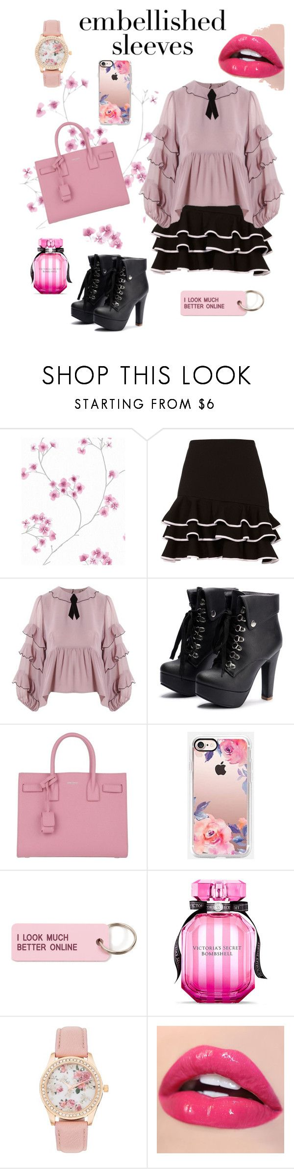 """""""Think in Pink!"""" by mrs0007 ❤ liked on Polyvore featuring Jonathan Simkhai, For Love & Lemons, Yves Saint Laurent, Casetify, Various Projects and Victoria's Secret"""