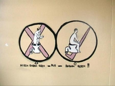 How to use a toilet. Madang, Papua New Guinea