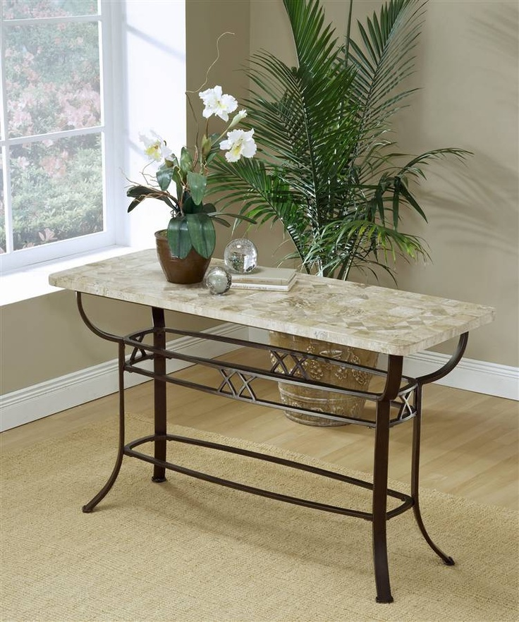 Hillsdale Brookside Wrought Iron Sofa Table w Fossil