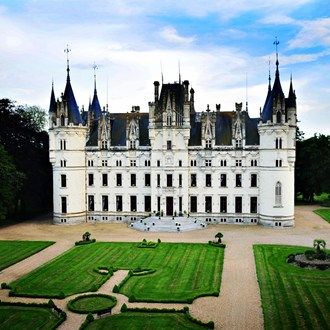 The jaw-droppingly beautiful Chateau de Challagne, set in the lush green countryside of the Loire Valley in north west France.