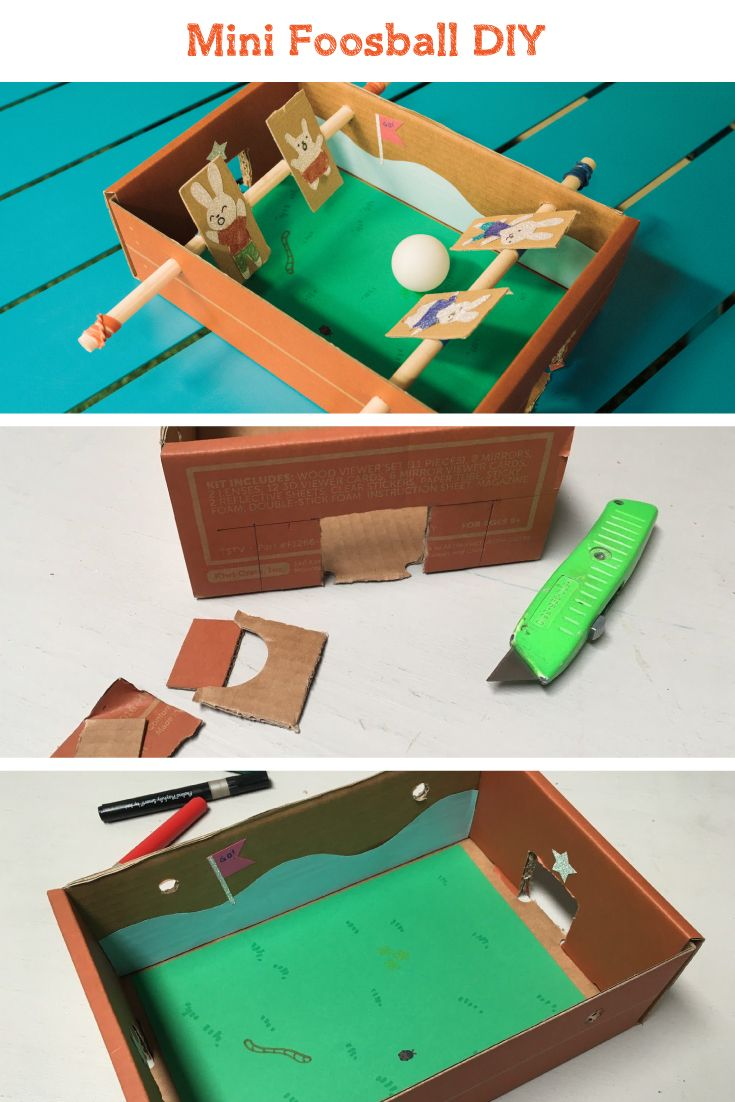 Mini Foosball DIY. Make your own mini-sized and portable foosball game with easily found materials. Create a whole set of players to complete your team! Once you are ready to go, grab a friend and start the fun!