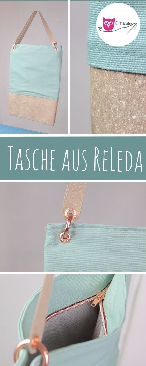 Nähe eine elegante Tasche aus ReLeda - recyceltes Leder, das Trendmaterial von Snaply. Mit innerem Reißverschluss, Ösen und Ringschnappverschluss als Videoanleitung