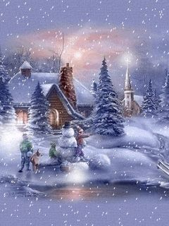 animated christmas and winter snow | Winter landscapes and scenic wintery moving snow animations