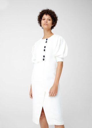 Linen-blend midi dress -  Woman | MANGO United Kingdom