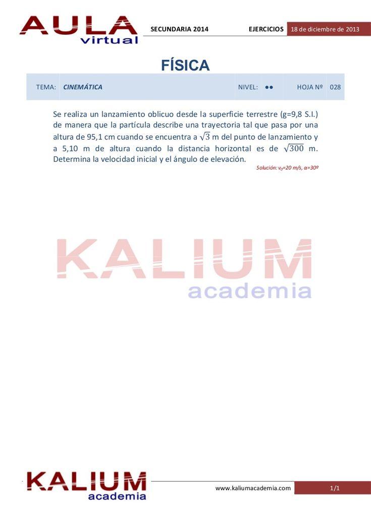 Oposiciones Secundaria: Física y Química (Cinemática, nivel: II) by KALIUM academia via slideshare