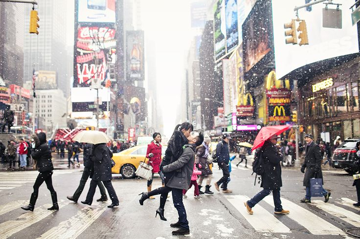 New York City Wintery Times Square engagement session #nyc by Sarina Love Photography http://sarinalove.com/new-york-city-winter-engagement-session-betty-dennis/