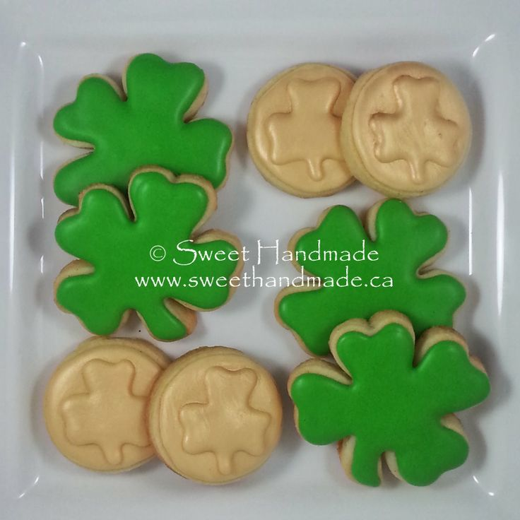 Sweet Handmade Cookies - St. Patrick's Day cookies; shamrocks and lucky gold coins.