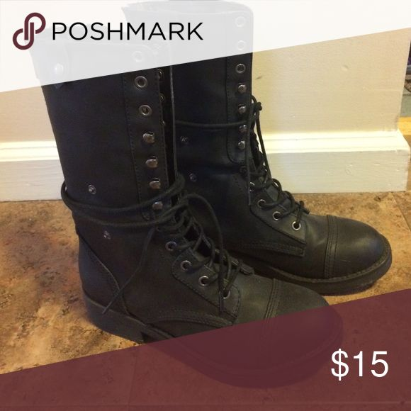 Madden girl insulated boots These Black madden girl size 7 boots have faux insulation and have been worn a few times but in great condition . Madden Girl Shoes Combat & Moto Boots