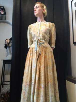 dress made from WWII silk escape and evade maps, given to RAF crew to help them find a route out of enemy territory if shot down behind enemy lines, sewn c. 1945-1950 and sold 2016, UK