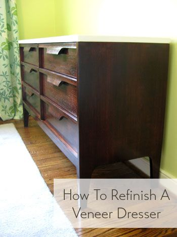 How to refinish a veneer dresser! Looks like new :)