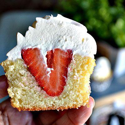 Strawberry Shortcake Cupcake Recipe. Strawberry cake would be even better.