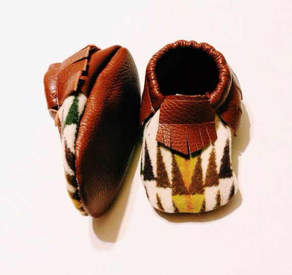 Pendleton baby/toddler moccasins brown leather on Etsy, $32.00: