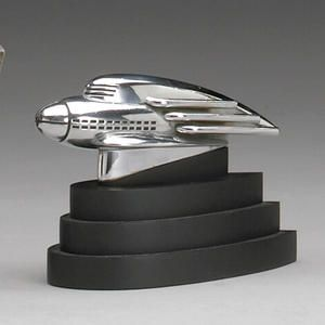 A rare 1936 'streamliner' Hupmobile mascot designed by Raymond Loewy,