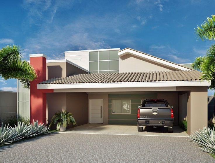 25 melhores ideias sobre casas com telhado embutido no for Casas modernas simples
