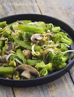 Broccoli, Mushrooms and Bean Sprouts Stir Fry recipe | by Tarla Dalal | Tarladalal.com | #22294