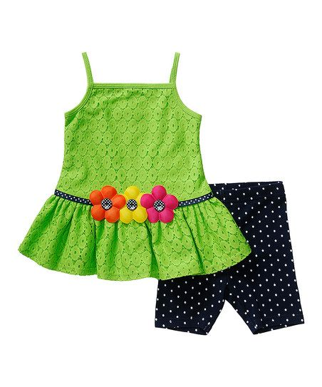 Youngland Green Flower Tunic & Navy Leggings - Infant, Toddler & Girls | zulily