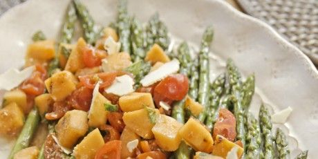Asparagus with Grilled Melon Salad