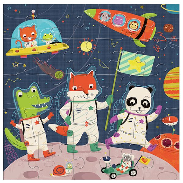 Space Explorers Puzzle from @galisonmudpuppy illustrated by Jannie Ho