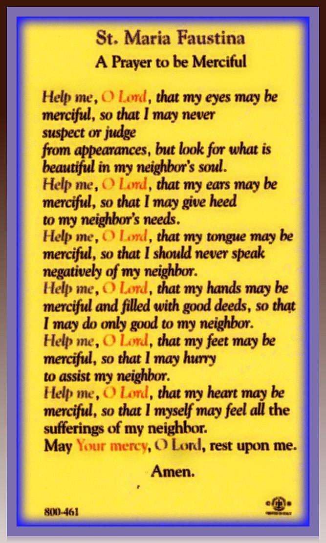 Sister Maria Faustina Prayer: A Prayer to be Merciful