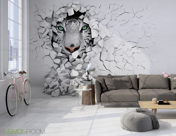 Fototapeta 3D Tygrys w ścianie Zamów >> http://lemonroom.pl/fototapeta-35-Fototapety-D-wf138-Tygrys-w-scianie.html  #Fototapety #Fototapeta #wallmurals #walldecor #Decoration