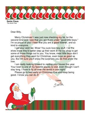 This printable letter from Santa to a little boy mentions how proud Santa is and acknowledges receipt of the boy's wish list. Free to download and print