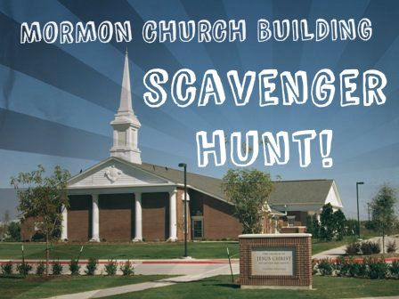 Mormon Church Building Scavenger Hunt with rules and clues included!