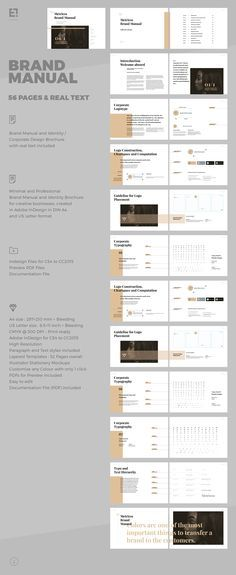 Brand Manual and Identity Template – Corporate Design Brochure – with real text!!!Minimal and Professional Brand Manual and Identity Brochure template for creative businesses, created in Adobe InDesign in International DIN A4 and US Letter format.Thi…