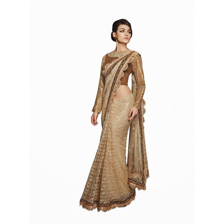 Beige Dupion Silk Designer #Saree With Blouse- $119.82
