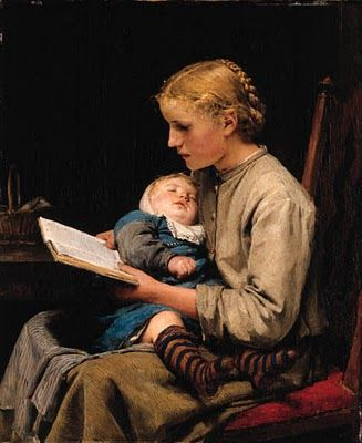 Rosa and Bertha Gugger 1883 by Albert Anker (1831-1910)... The young mother, getting a moment to read during nap time..