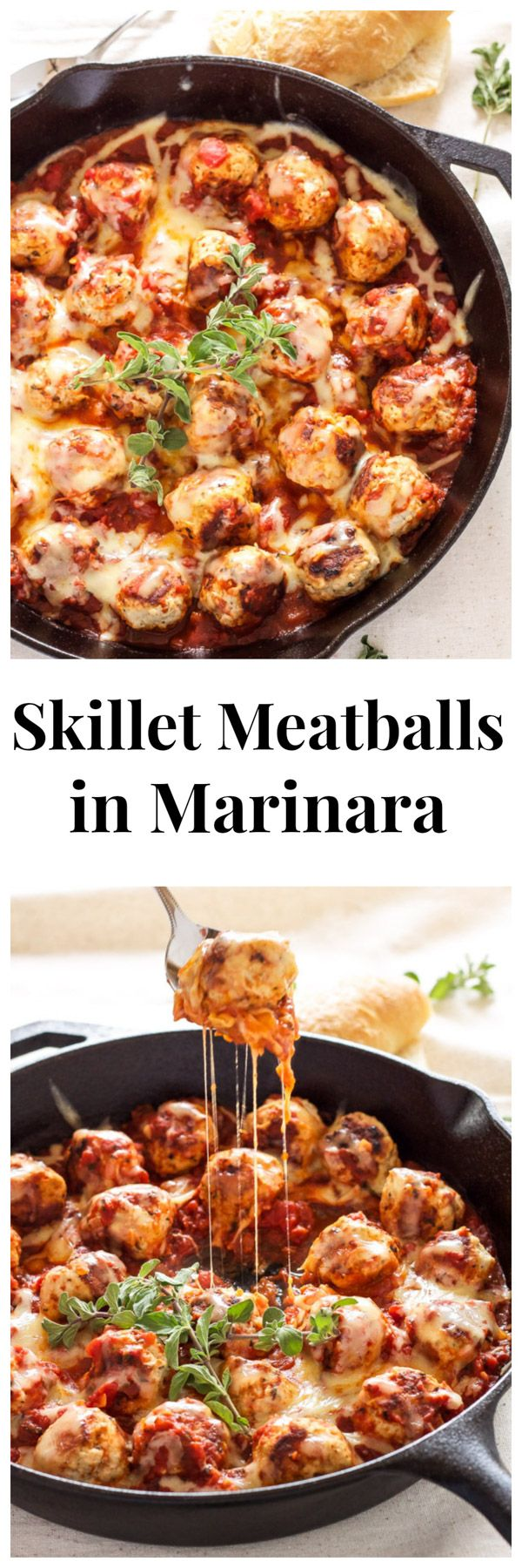 Skillet Meatballs in Marinara   Meatballs stuffed with mozzarella and simmered in marinara sauce. An easy one pan meal!   @reciperunner