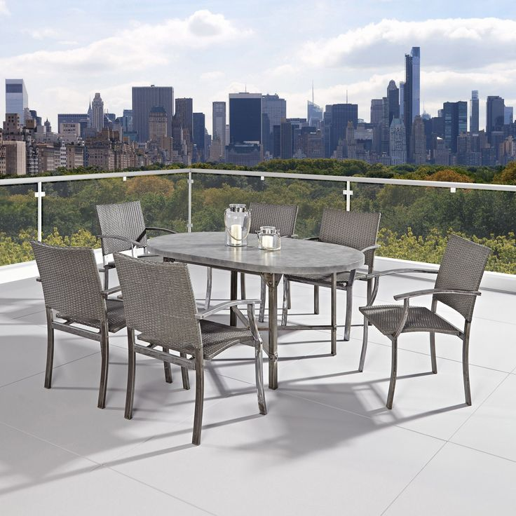 Strength meets beauty in this urban industrial design. The Urban Outdoor 7-piece Dining Set by Home Styles displays unrefined beauty in the midst of aged metal rust sealed with a clear coat.