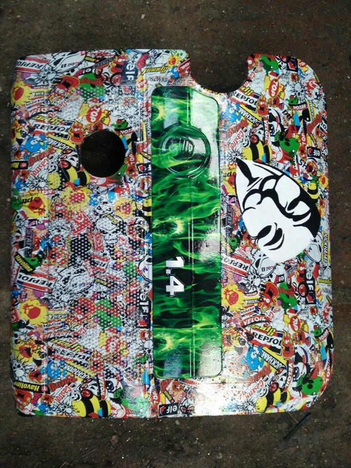 F static enigne cover - hydro dipped and hand painted V for Vendetta mask, Stickerbomb