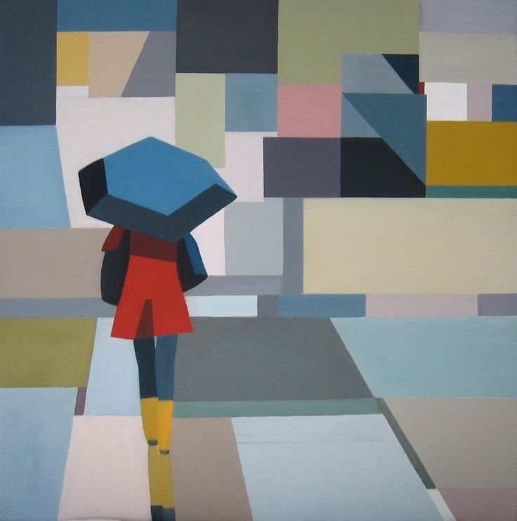 Oil on canvas - Girl with the blue umbrella, Artist Chris Martin. www.chrismartin.co.nz