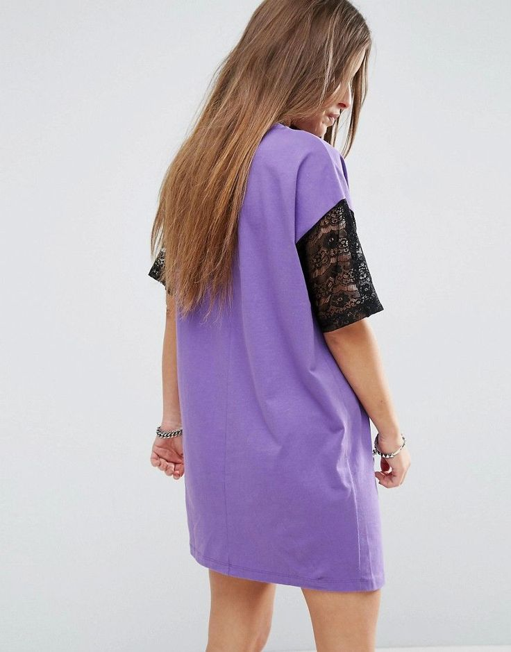 ASOS PETITE T-Shirt Dress with Lace Insert and Motif - Purple