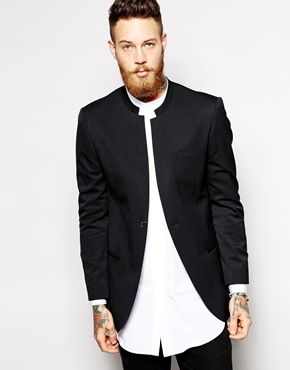 ASOS Slim Fit Blazer With Mandarin Collar
