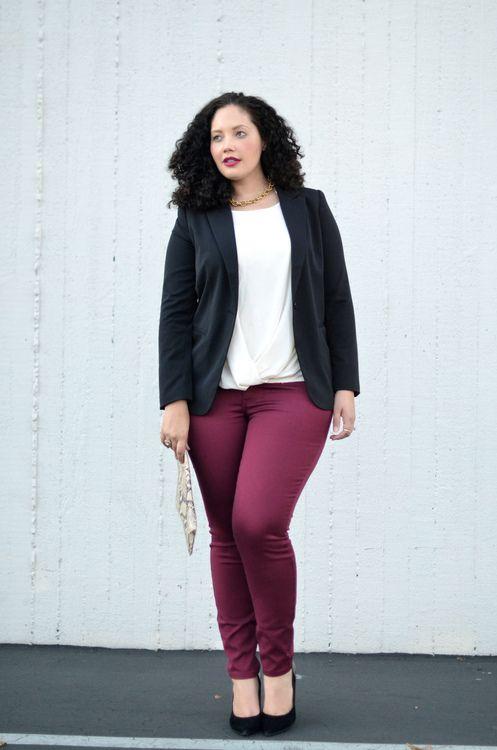 Resultado de imagen para dark red pants outfit plus size