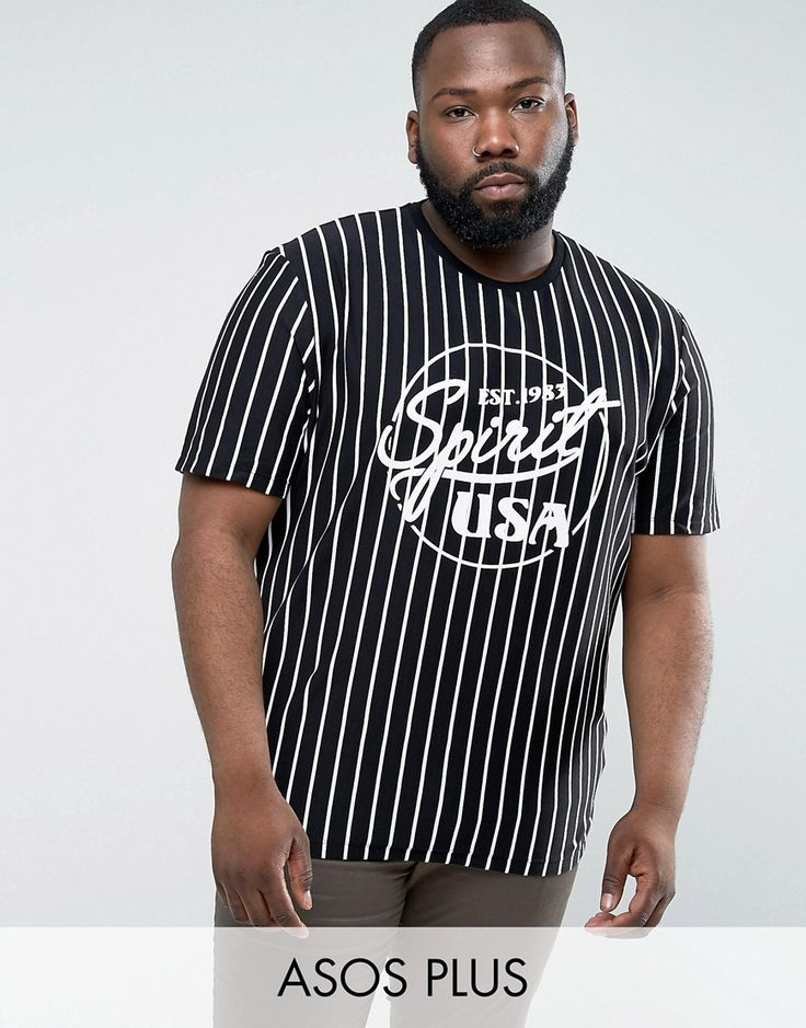 ASOS PLUS Relaxed T-Shirt With Vertical Stripe & Spirit Print - Black