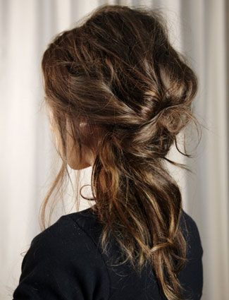 20 Messy-Chic Hairstyles From Pinterest - DailyMakeover: Switch out a basic ponytail for this tousled twist.