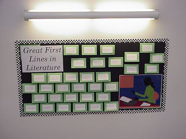 "Great First Lines in Literature -- I love doing bulletin boards to promote books. This was an ""interactive"" bulletin board. The first line of the book was on the front cover - you lift the flap to see the book title and author. My favorite first line: ""Countess Judith kept her husband's head in a box."" From ""The GleeMaiden"" by Hamilton."