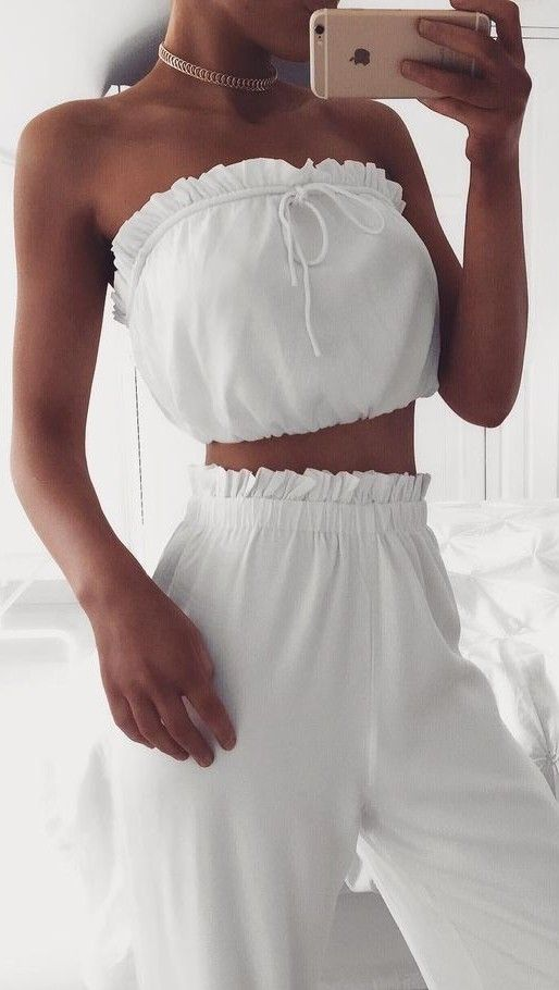 #summer #coolest #outfits | White Bandeau + Pants
