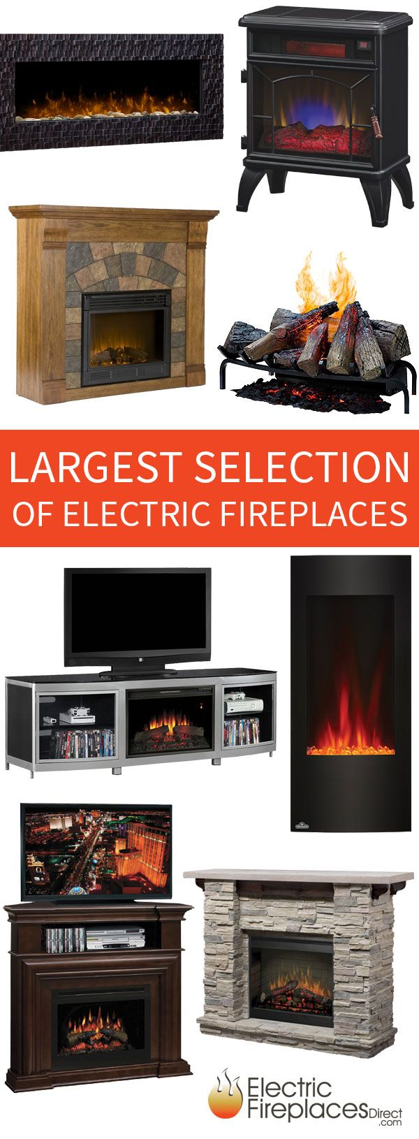The largest selection of electric fireplace products on the internet including premium wall mounts, TV and Media stands, freestanding stoves, and fireplace inserts from Dimplex, Twin Star, Napoleon, and more. Fast, free shipping! Shop here: http://www.electricfireplacesdirect.com/?utm_source=pinterest&utm_medium=social&utm_campaign=productgallery