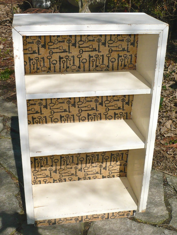 Shabby Chic White Wood Vintage Bookcase Burlap by CasaKarmaDecor, $90.00