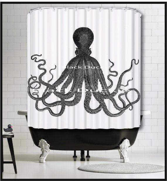 Vintage Black Octopus Shower Curtain Black by TheBlackDuckie