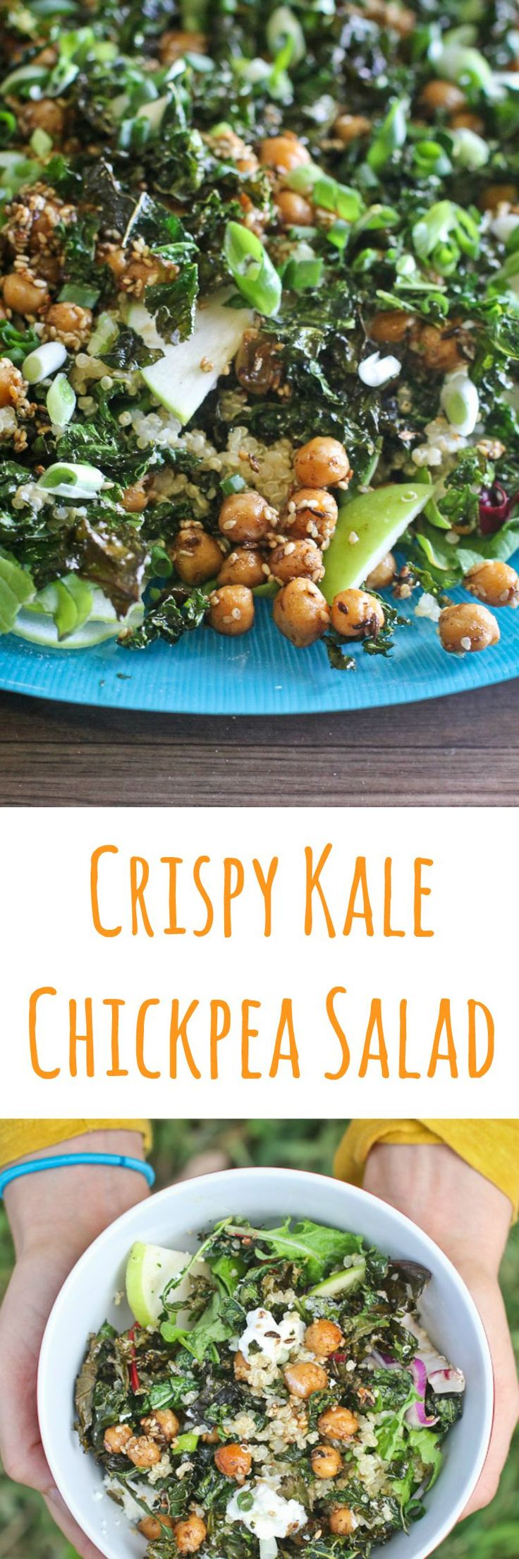 Crispy Kale, Quinoa & Chickpea Salad can be made in less than 30 minutes. This delightful wholefood salad is perfect to add to any seasonal table.
